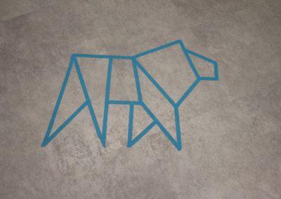 InnoSÜD-Löwe als Markierung auf dem Boden.
