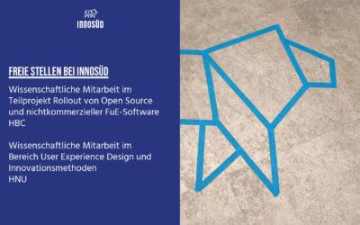 2 Stellen in InnoSÜD zu besetzen: Wissenschaftliche Mitarbeit für Open Source Software, User Experience Design