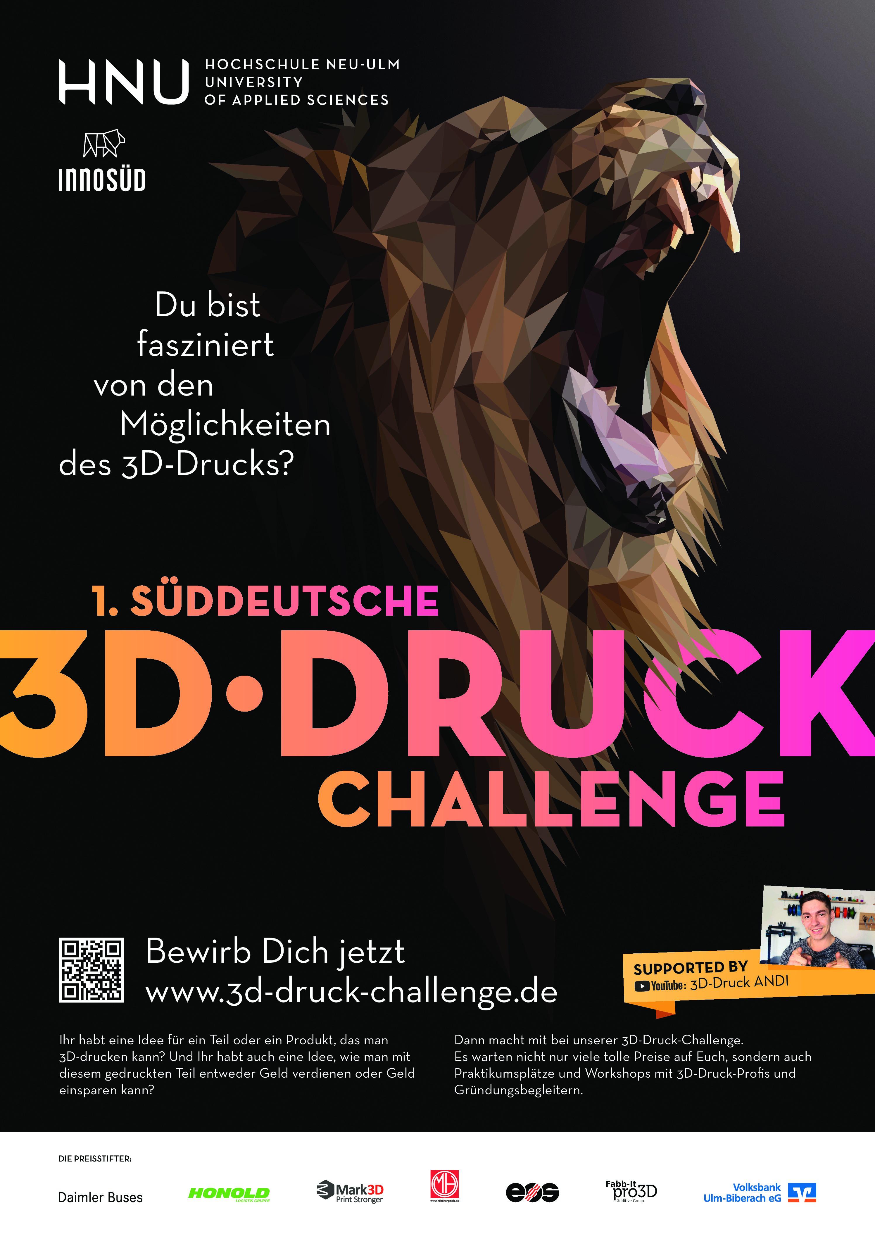 1. Süddeutsche 3D-Druck-Challenge: Kreative Köpfe am 3D-Drucker gesucht