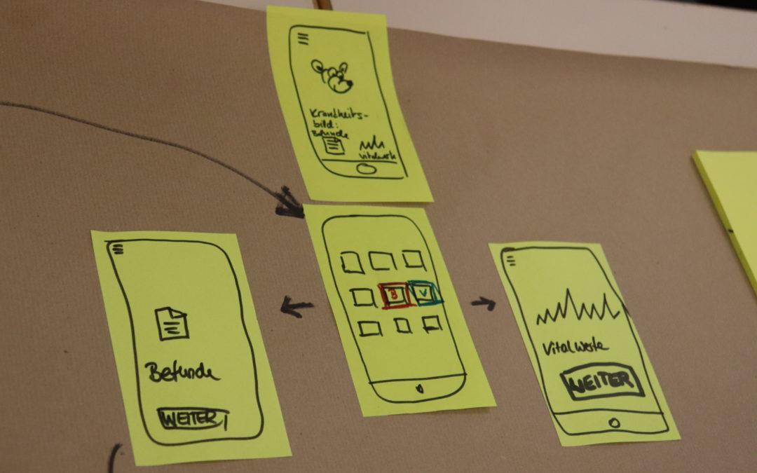 Workshop-Impression: Gezeichnete Anscihten verschiedener Seiten einer App.