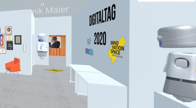 Screenshot aus den Mozilla Hubs: Blick in den nachgebauten Innovation Space.