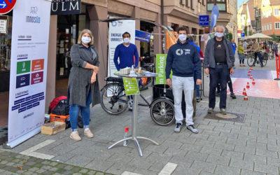 Mit dem Solarfahrrad in der Ulmer Altstadt: InnoSÜD und Technische Hochschule Ulm beim Green Parking Day