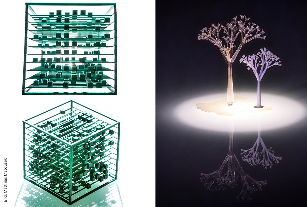 """2 Kunstobjekte des Siegerteams """"BitArt"""": Ein Würfel und ein Baum. Bild: Matthias Matousek"""