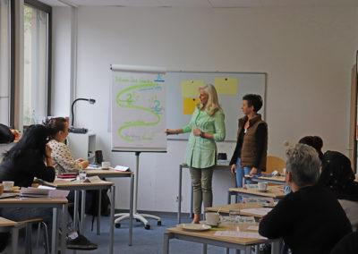 Manuela Orlowitsch und Hildegard Kuch-Kuthe beim Auftaktworkshop.