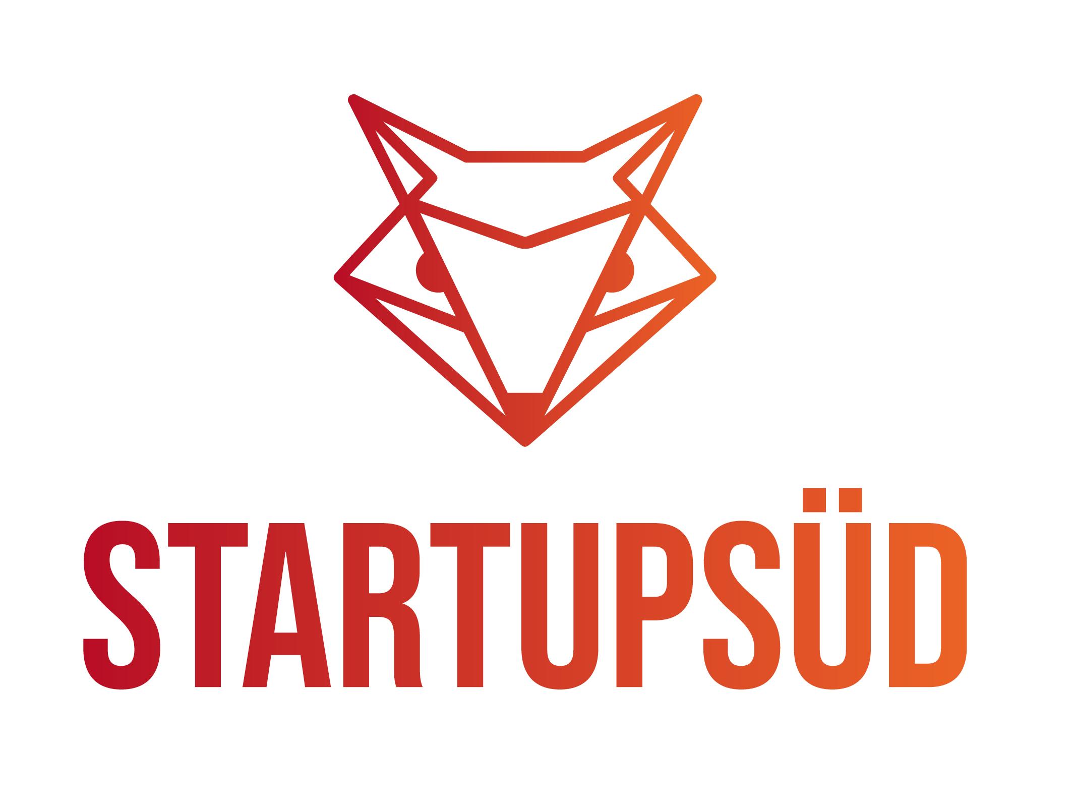 Das Logo von StartupSÜD: Ein stilisierter Fuchs im Origami-Stil in Rot-Orange-Farbverlauf über dem Schriftzug StartupSÜD.