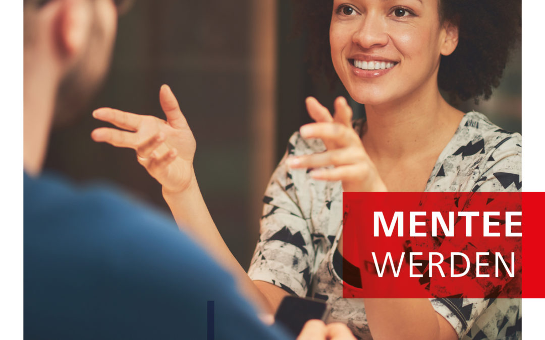 """Plakat zur Mentoring-Aktion: Eine junge Frau im GesPlakat zur Mentoringaktion: Eine Frau und ein Mann im Gespräch, dazu der Slogan """"Weiter kommen"""" und Informationen zur Bewerbung (siehe Text)."""